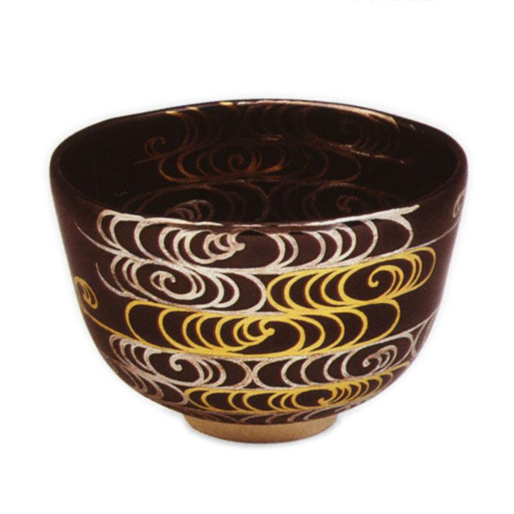 茶道具 抹茶茶碗(まっちゃちゃわん) 黒釉 金銀波 茶碗 田中 方円 作