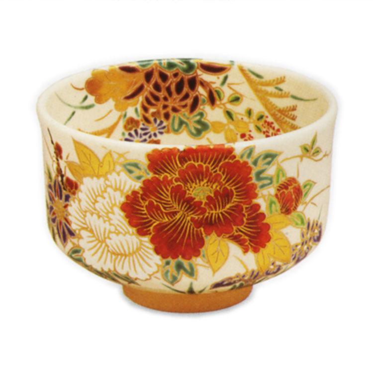茶道具 抹茶茶碗(まっちゃちゃわん) 色絵 四季草花 茶碗 田中 方円 作