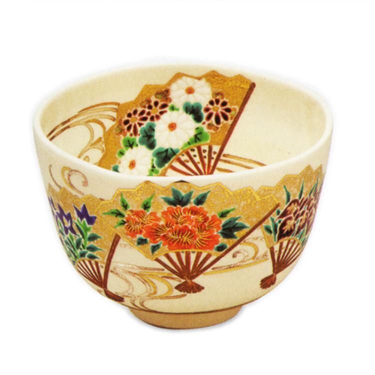 茶道具 抹茶茶碗(まっちゃちゃわん) 色絵 扇流し 茶碗 田中 方円 作