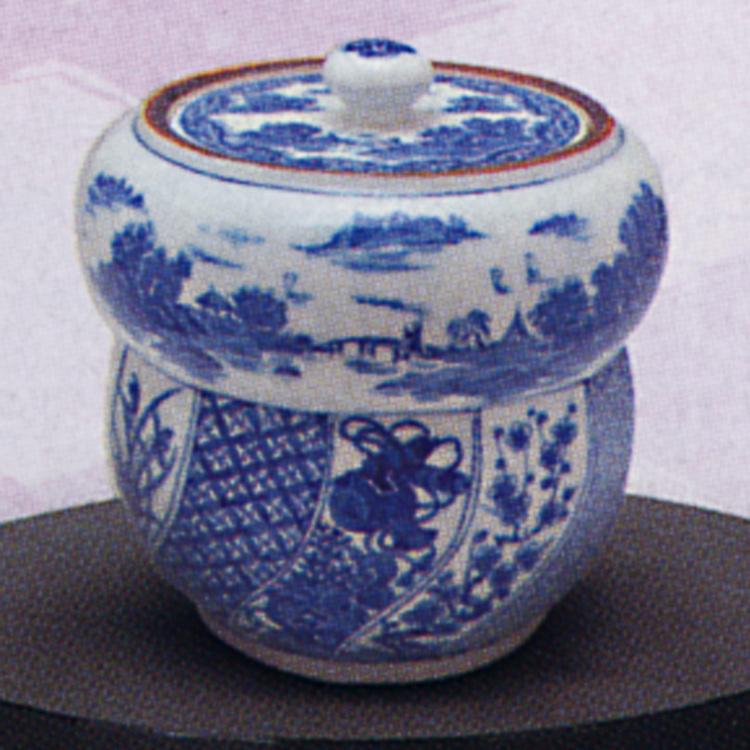 茶道具 染付 祥瑞 腰捻 水指 郷山 (茶道具 通販 )