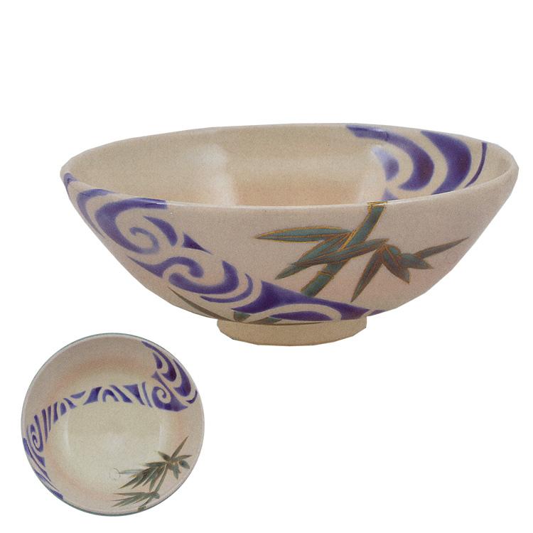 茶道具 平茶碗(ひらちゃわん) 色絵 平茶碗 竹に流水 山岡 善昇 ギフト 通販 千紀園