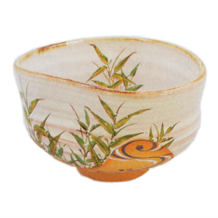 茶道具 抹茶茶碗(まっちゃちゃわん)灰釉 茶碗 露笹に流水 中村 良二 ギフト 通販 千紀園