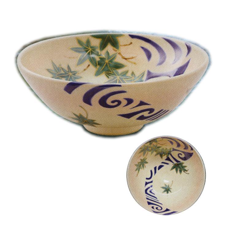 茶道具 平茶碗(ひらちゃわん) 色絵 平茶碗 楓に流水 山岡 善昇