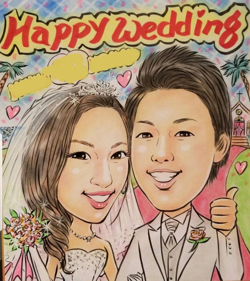 ソフトパステル幸せタッチ 似顔絵ウェルカムボード 結婚式 プレゼント ブライダル ウェディング お祝い 写真からLINEOK 結婚祝い 誕生日 色鉛筆とパステルの手書き作品です。 送料無料