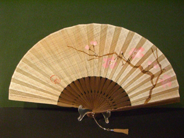 風香扇×KARIN/シルク染め生地/7寸 型染め絵 梅2/女性用扇子女物扇子男女兼用