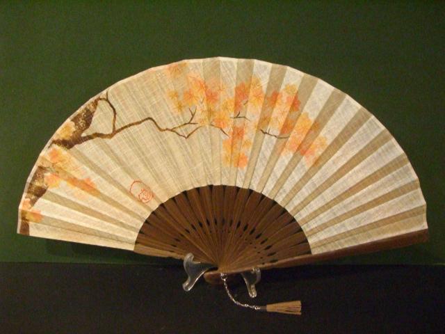 風香扇×KARIN/シルク染め生地/7寸 型染め絵 紅葉/女性用扇子女物扇子男女兼用