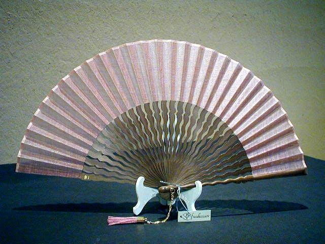 うねり骨型無地・唐木(ピンク)/ピーニャ生地/宗一ブランド/6.8寸/フォーマル扇子