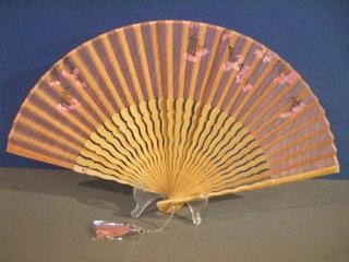 うねり唐木骨/型染め扇子(さくら柄)/さらし×ピンク/宗一ブランド6.8寸