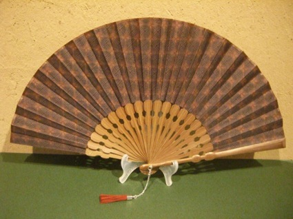 宗一ブランド/玉骨・古布(更紗)扇/丸と花柄/扇子/男性用女性用兼用