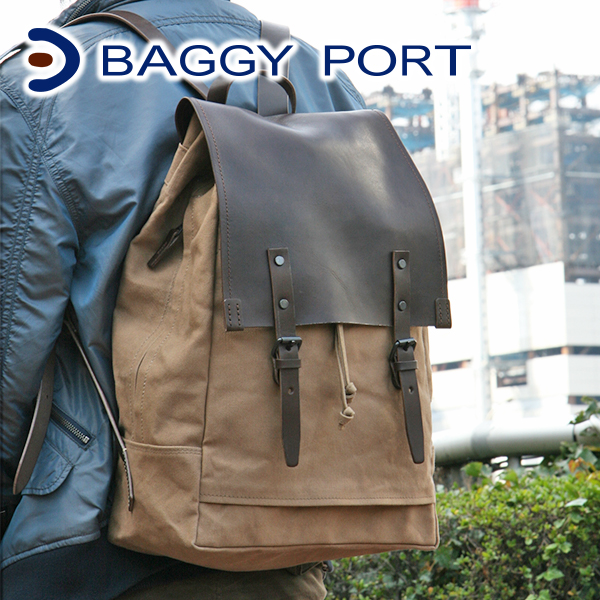 5597935087 BAGGYPORT(バギーポート)ウォッシュ加工6号帆布×オイルレザーリュック(バック