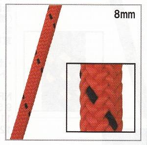 プルジックコード【8mm】【入数:600m】レッド/ブラック(引張強度1317kgf)