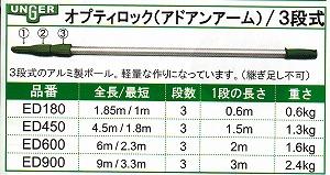ウンガー オプティロック(アドアンアーム)/3段式【全長/最短:9m/3.3m】《UNGERウンガー正規取扱店》