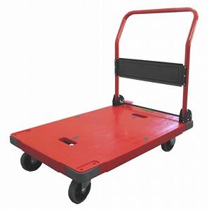 サイレントマスター運搬台車赤(900×600mm)【折畳式ハンドル】【ブレーキ付(静音タイプ)】《ナンシン正規代理店》