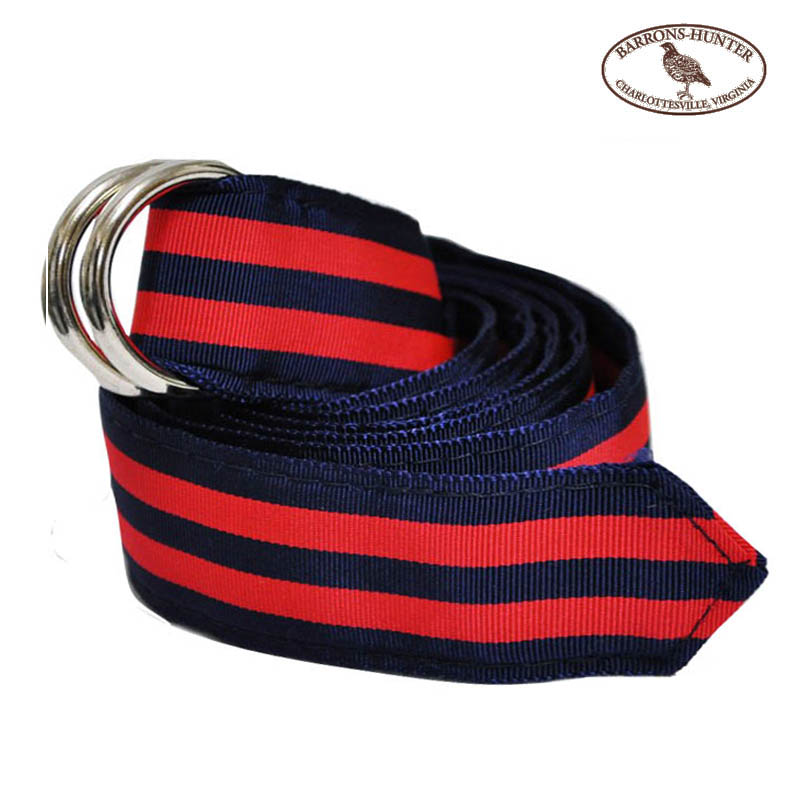 BARRONS HUNTER(バロンズハンター)【D-RING】DOUBLE RING RIBBON BELT(ダブルリングリボンベルト) NAVY/DOUBLE RED