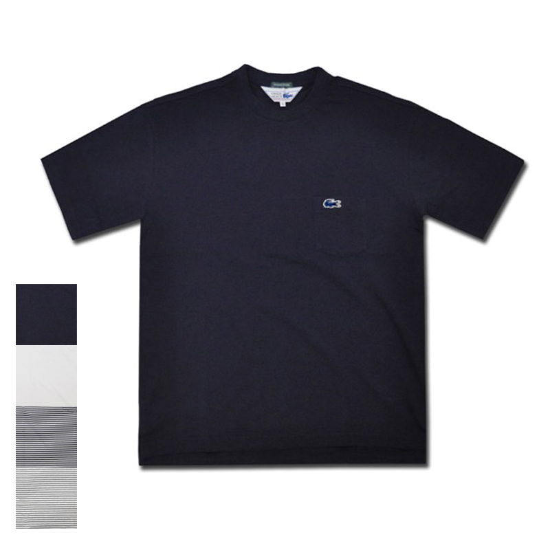 【4 COLOR】JAPAN LACOSTE(ジャパンラコステ) 別注ライン S/S C/N DROP TAIL PIQUE BIG POCKET T-SHIRTS(半袖 ドロップテール 鹿の子 ビッグTシャツ) 青ワニ