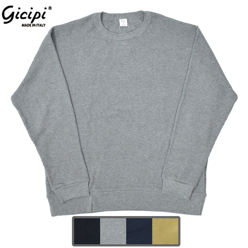 【4 COLORS】GICIPI(ジチピ) 【MADE IN ITALY】 COTTON SOFT WAFFLE CREW NECK(コットンソフト ワッフル クルーネック)
