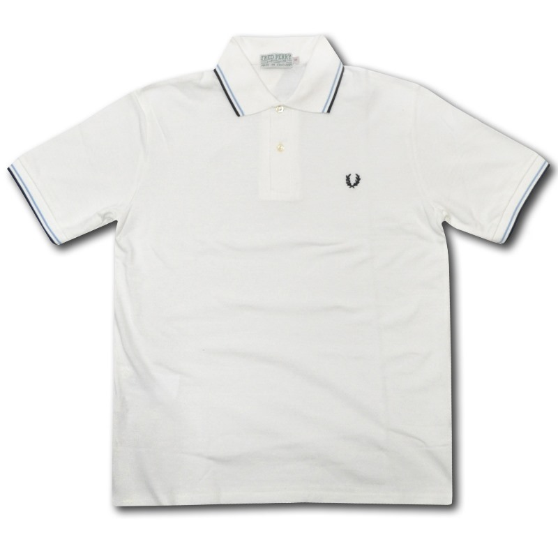 FRED PERRY REISSUES(フレッドペリー リイシュー)【MADE IN ENGLAND】 M-53 S/S POLO SHIRTS (イギリス製 M53 半袖ポロシャツ) WHITE/SAX/NAVY