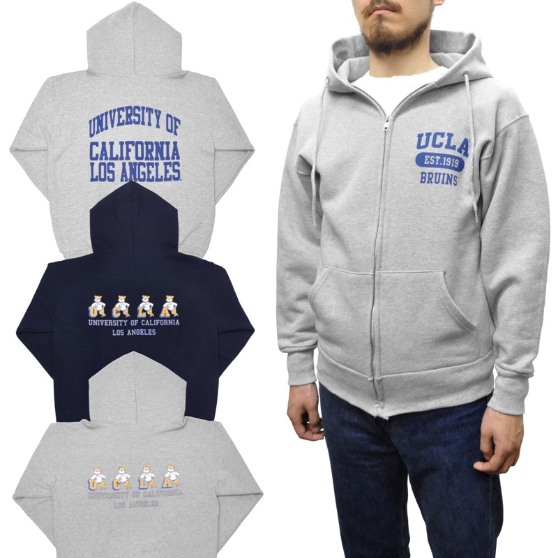 【3 COLOR】UCLA(ユーシーエルエー) 【MADE IN USA】 SWEAT ZIP UP PARKA(アメリカ製ジップアップパーカ)