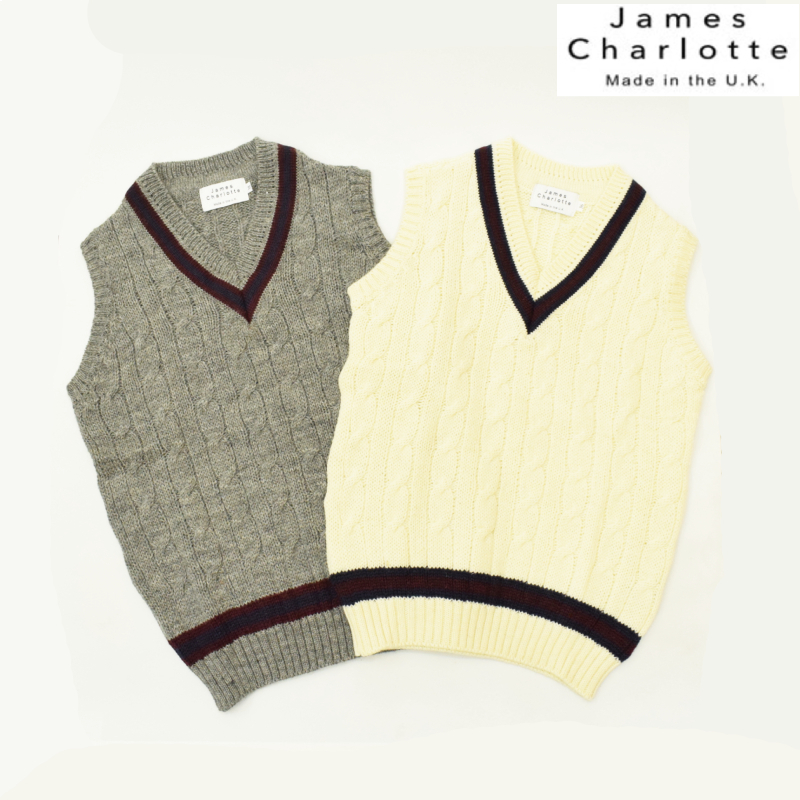 【2 COLORS】JAMES CHARLOTTE(ジェームスシャルロット) 【MADE IN ENGLAND】CRICKET VEST(クリケットベスト) WOOL