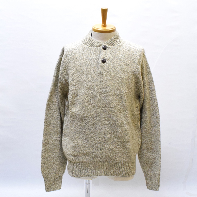 ROTHCO(ロスコ) 【MADE.IN.U.S.A】 DEAD STOCK HENLEY NECK RAGG WOOL SWEATER(アメリカ製 デッドストック ヘンリーネック ラグウール セーター) OATMEAL