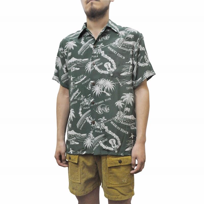IOLANI(イオラニ) 【MADE IN HAWAII】SEPTIS別注 ALOHA SHIRTS(ハワイ製 アロハシャツ) SILK(シルク) HAWAIIAN SHIRTS GREEN