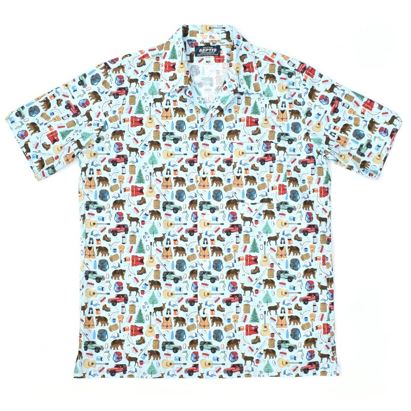 SEPTIS ORIGINAL(セプティズオリジナル) S/S ONENAP COLLARED SHIRTS(半袖ワンナップカラーシャツ/開襟シャツ) OUTDOOR GOODS(アウトドア グッズ) LIGHT BLUE