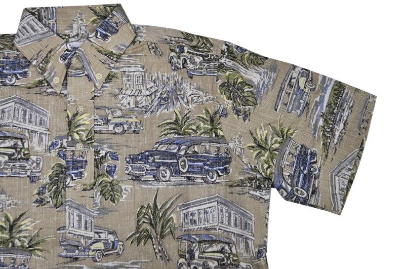 REYN SPOONER(雷恩斯普纳)S/S B/D PULLOVER ALOHA SHIRTS(短袖套衫夏威夷衬衫)HILO SAMPANS TAN