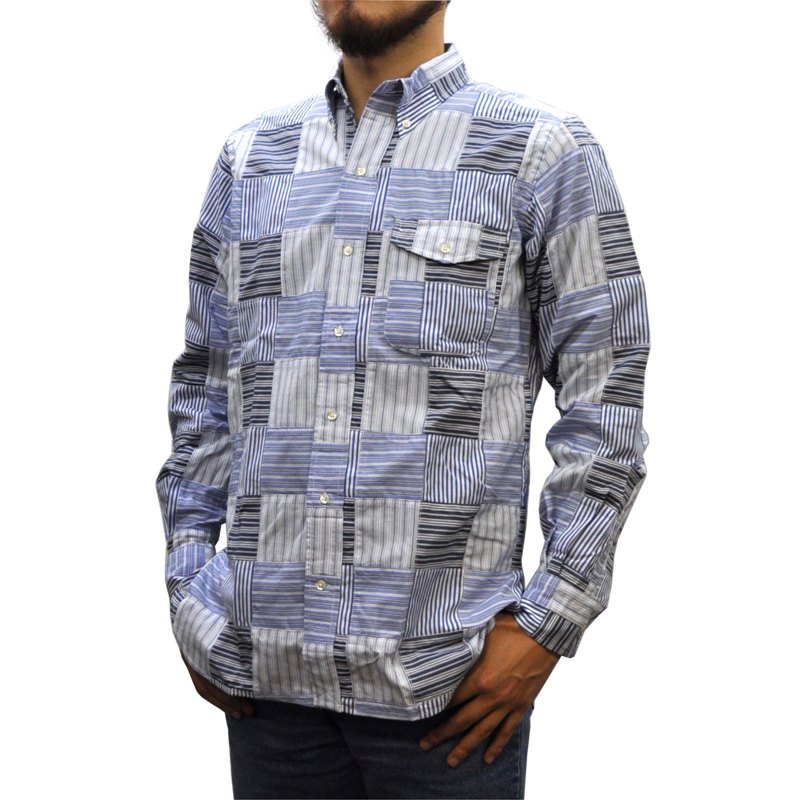 SEPTIS ORIGINAL(セプティズオリジナル) 長袖ボタンダウンシャツ IVY SHIRTS(オリジナルアイビーシャツ) PATCHWORK(パッチワーク) STRIPE BLUE/WHITE