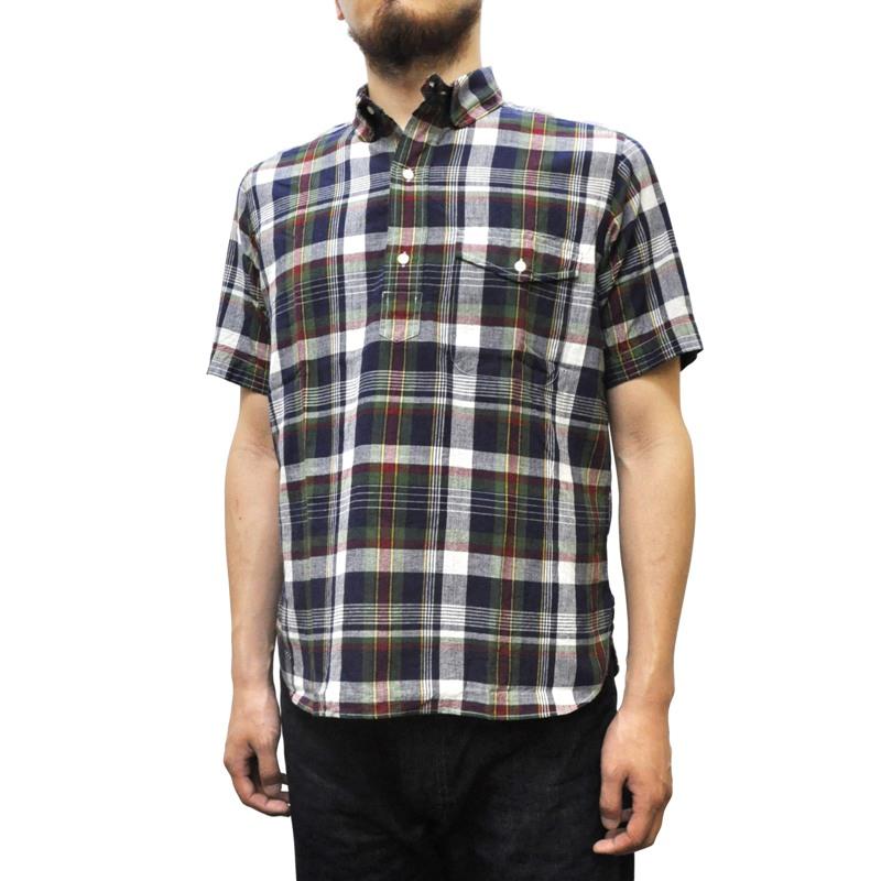 SEPTIS ORIGINAL(セプティズオリジナル) IVY PULLOVER SHIRTS(半袖ラウンドカラーアイビープルオーバーシャツ) MADRAS(マドラスチェック) GREEN/WINE