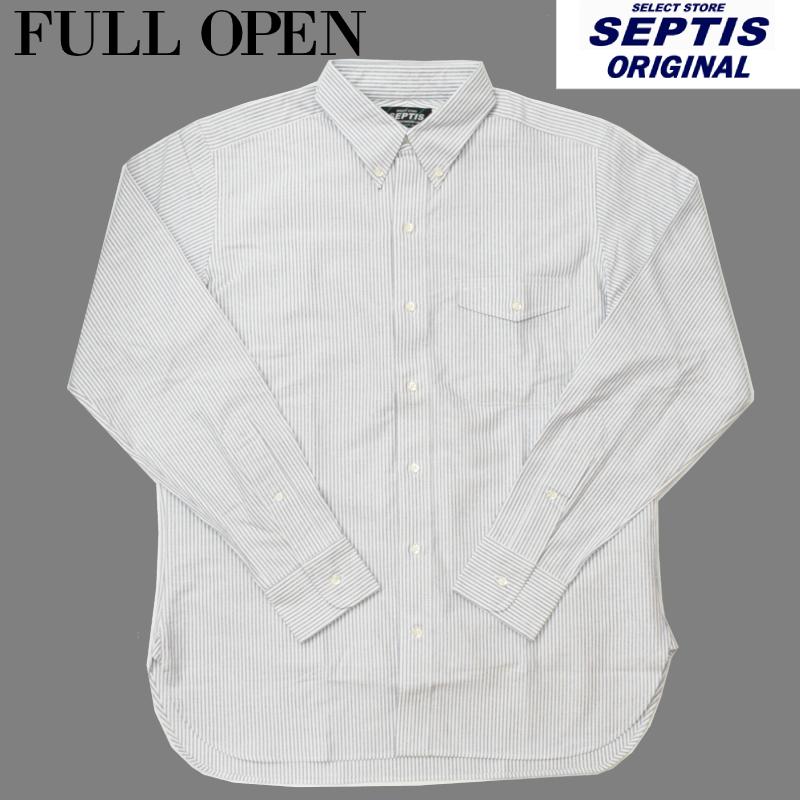 SEPTIS ORIGINAL(セプティズオリジナル) 長袖ボタンダウンシャツ IVY SHIRTS(オリジナルアイビーシャツ) OXFORD(オックスフォード) CANDY STRIPE BLUE