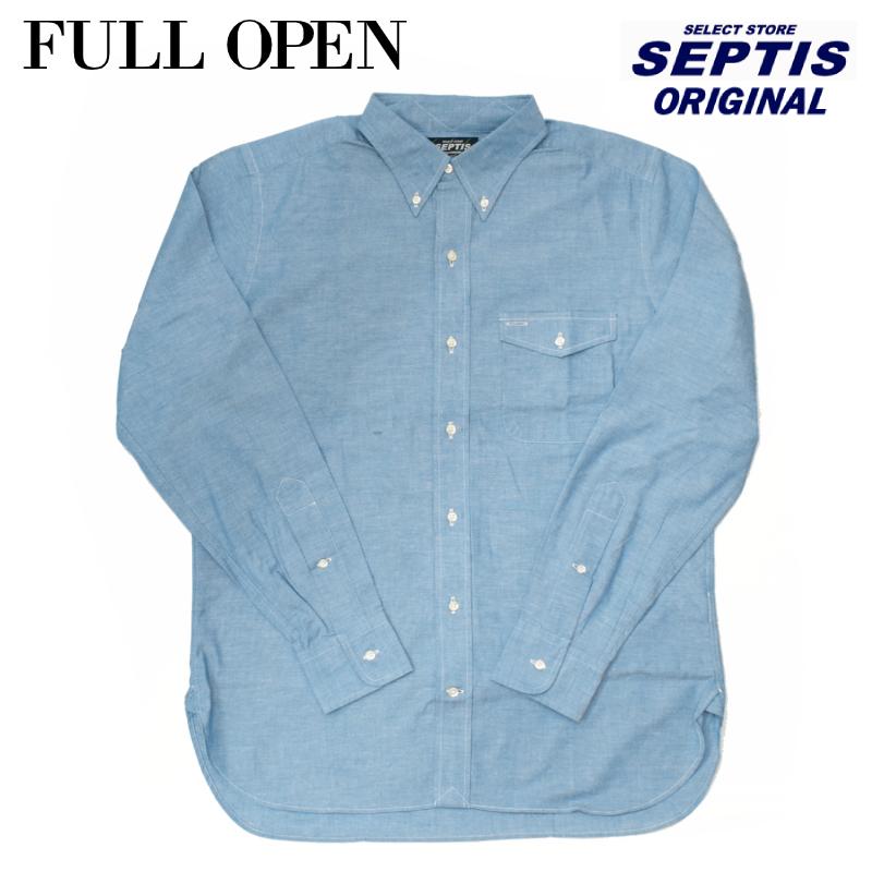 SEPTIS ORIGINAL(セプティズオリジナル) 長袖ボタンダウンシャツ IVY SHIRTS(オリジナルアイビーシャツ) NEW CHAMBRAY