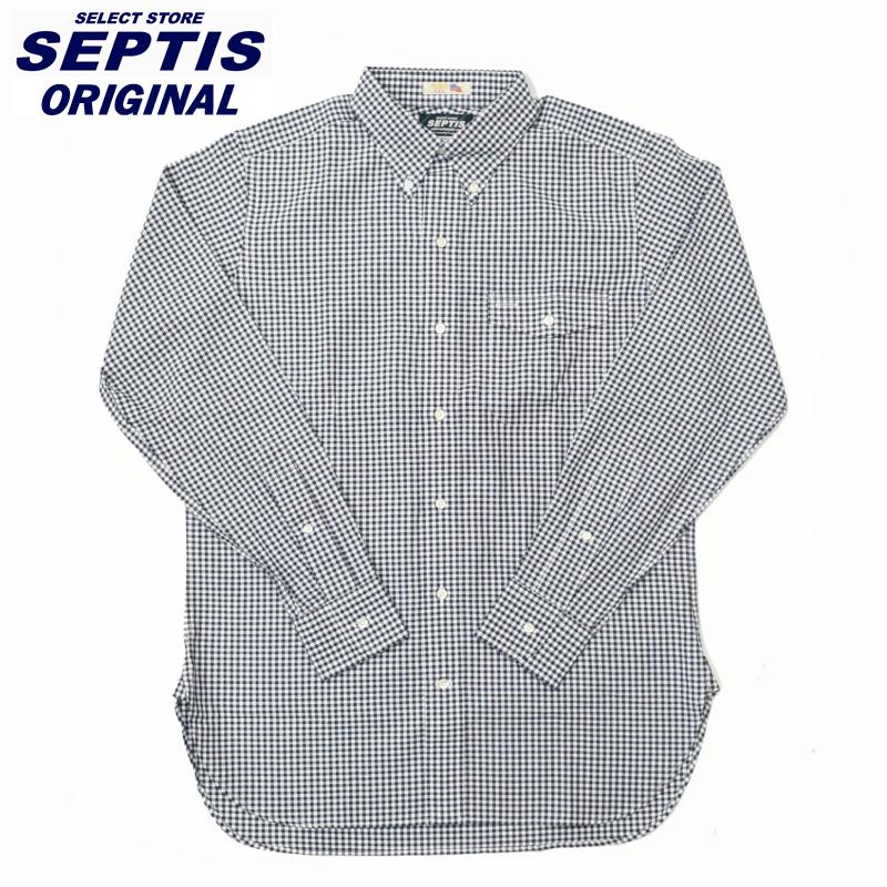 SEPTIS ORIGINAL(セプティズオリジナル) L/S B/D IVY SHIRTS(オリジナルアイビーシャツ 長袖ボタンダウンシャツ) GINGHAM CHECK NAVY(ギンガムチェック) ROBERT KAUFMAN OXFORD