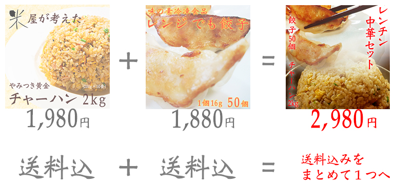 冷凍食品 餃子50個+チャーハン2kgセット【レンジ】【北海道・沖縄別途送料必要】
