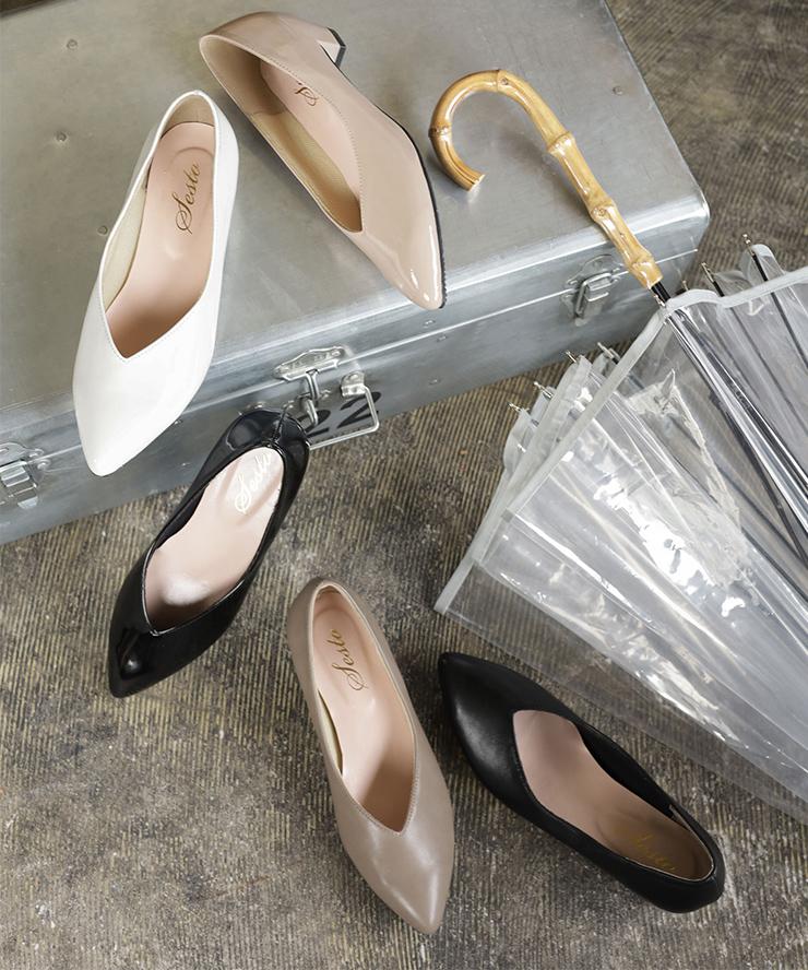 2020春夏新作 【送料無料】 パンプス レインシューズ レインパンプス 靴 雨靴 晴雨兼用 防水 梅雨 梅雨対策 Vカット 痛くない 歩きやすい 脱げない ローヒール ポインテッドトゥ 履きやすい 黒