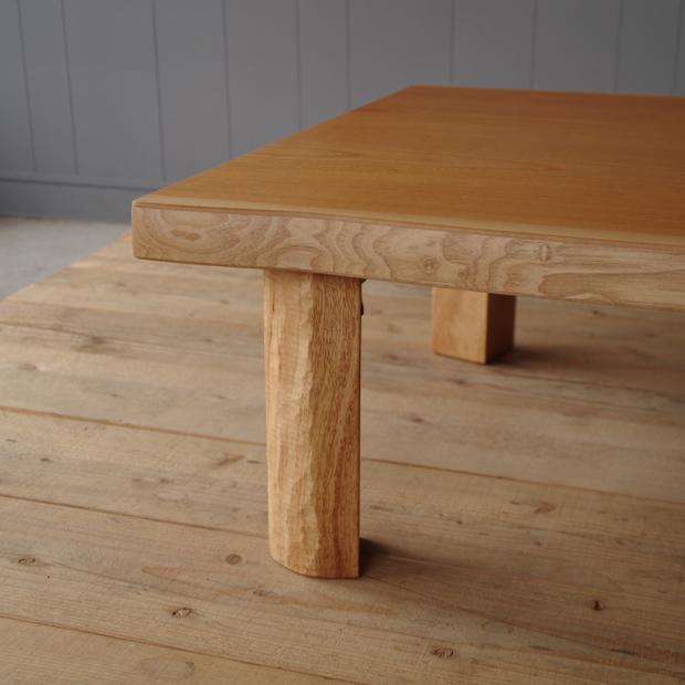 T-MASAMUNE座卓 120×80 長方形 ケヤキ 北欧 和風 モダン シンプル デザイン  おしゃれ かわいい  日本製 ローテーブル 国産リビングテーブル  フロアーテーブル 座卓 折脚 折足  耳付き 皮付き 一枚板風 