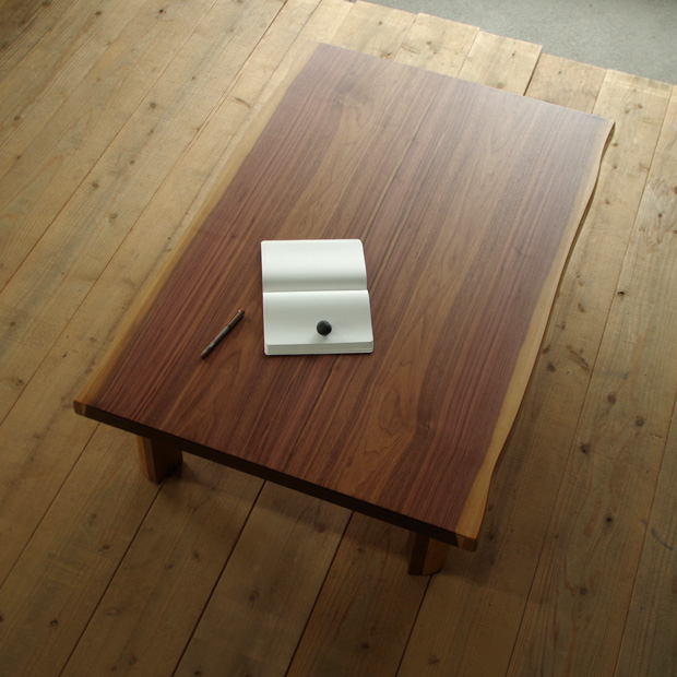 T-FLAN座卓 120×80 長方形 ウォールナット|北欧|和風|モダン|シンプル|デザイン||おしゃれ|かわいい||日本製|国産リビングテーブル||センターテーブル|ローテーブル|座卓|折脚|折足||耳付き|皮付き|一枚板風|