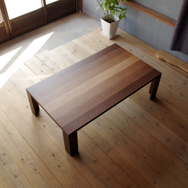 link座卓 120×70 長方形 タモ&ウォールナット突板 ストライプ|北欧|和風|モダン|シンプル|デザイン||おしゃれ|かわいい||日本製|座卓||国産テーブル|ローテーブル|机