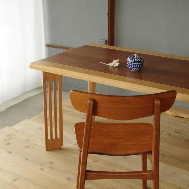 とってもおとくな撮影品 限定1台 DT-cashuテーブル 150×80 長方形 ウォルナット(突板)&タモ(無垢) 北欧 和風 モダン シンプル デザイン  おしゃれ かわいい  日本製 ダイニングテーブル  国産テーブル 国産ダイニングテーブル 