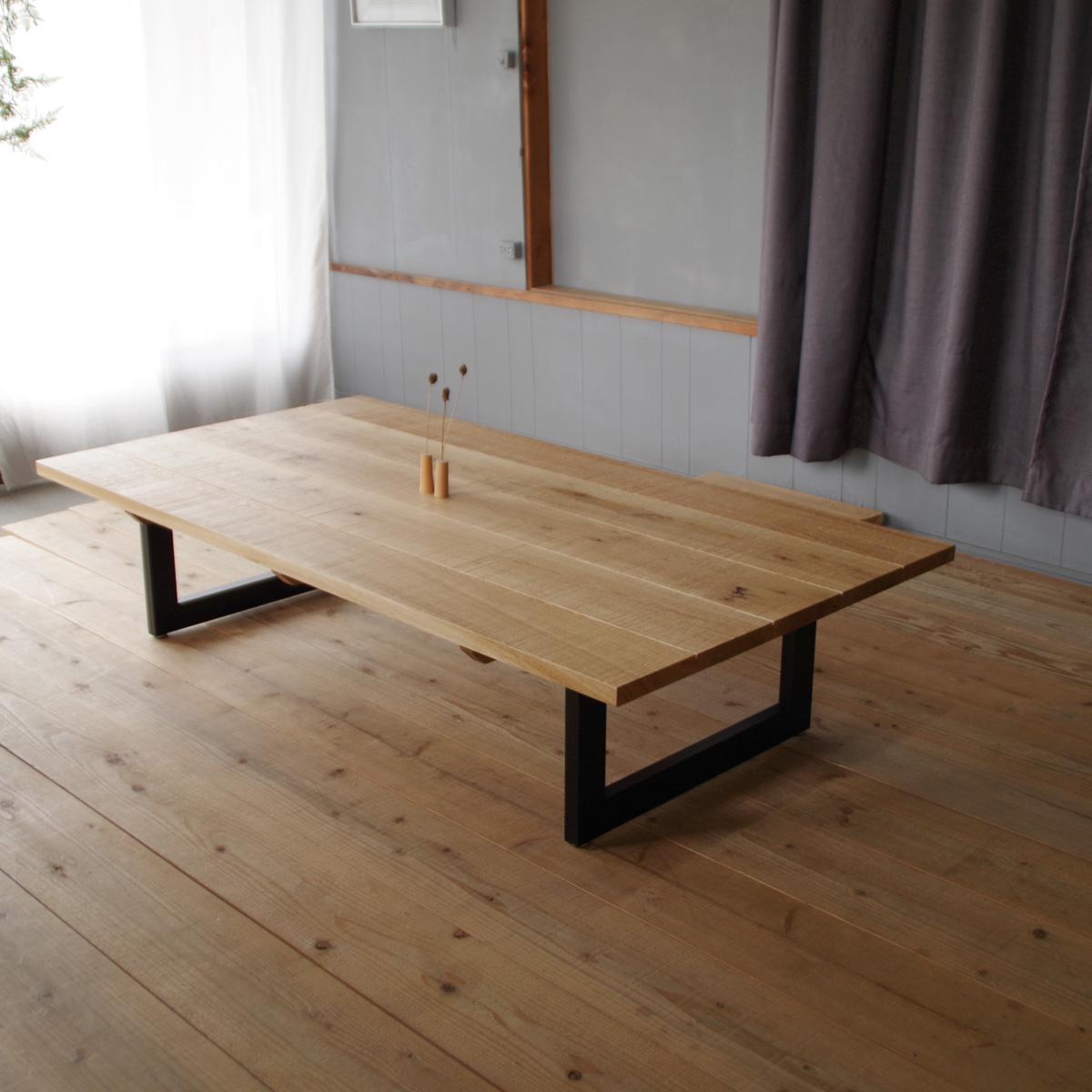 LT-Origin - nara座卓 160×85 長方形 ナラ節入無垢材 アイアン脚|北欧|和風|モダン|シンプル|デザイン||おしゃれ||日本製|リビングテーブル|国産リビングテーブル||センターテーブル|ローテーブル|座卓|DIY|アイアン|男前|