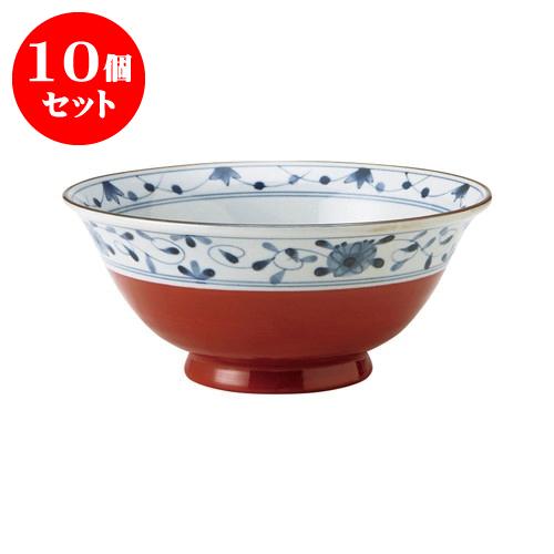 10個セット 赤巻つる唐草 古染UK麺鉢 [直径19.5 X 8.5cm] 【飲食店 業務用 割烹 料亭 食器】