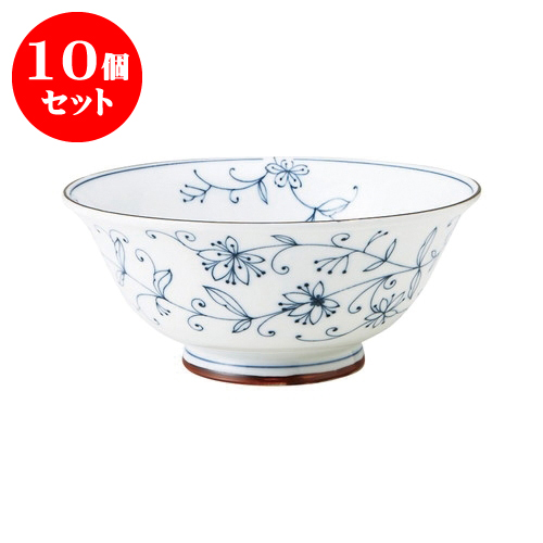 10個セット 線唐草 UK麺鉢 [直径19 X 8.5cm] 【飲食店 業務用 割烹 料亭 食器】