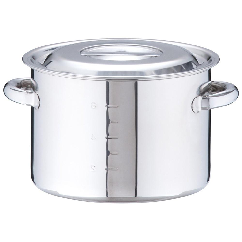 18-8 半寸胴鍋(目盛付) 24cm [ 内径:24cm 外径:256mm 深さ:170mm 7.5L ] [ 料理道具 ] | 厨房 キッチン 飲食店 ホテル レストラン 業務用