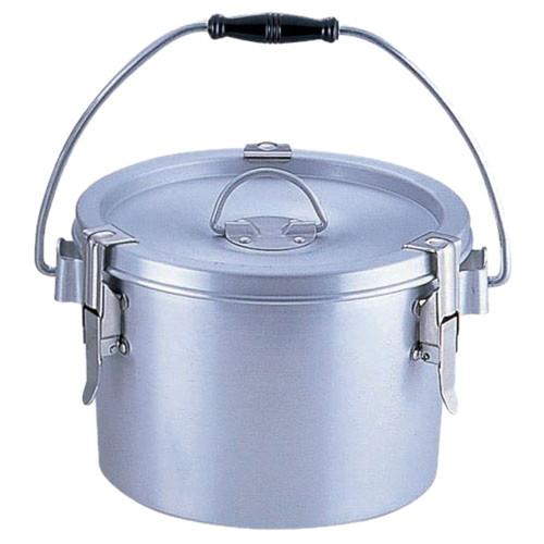 シルバーアルマイト丸型二重クリップ付食缶 237-H (4L)中蓋なし [ 外径:235 x H155mm 4L ] [ 給食道具 ] | 給食 社食 配膳 飲食店 厨房 レストラン 業務用