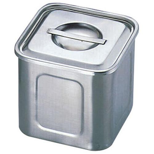 エコクリーンUK18-8深型角キッチンポット 13.5cm(本体内面ゼロクリア加工)目盛付 [ 内寸:(幅・奥行同サイズ)133 x 深さ:128mm 容量:2.3L ] [ 保存容器 ] | 飲食店 ホテル レストラン 厨房 社食 業務用