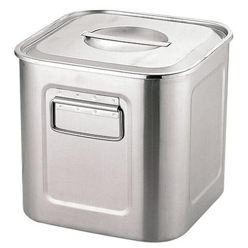 エコクリーンUK18-8深型角キッチンポット 33cm(本体内面ゼロクリア加工)手付 [ 内寸:(幅・奥行同サイズ)299 x 深さ:294mm 容量:25L ] [ 保存容器 ]   飲食店 ホテル レストラン 厨房 社食 業務用