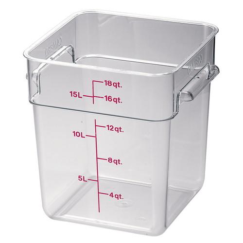 キャンブロ 角型フードコンテナークリアー(蓋なし) 18SFSCW [ (内寸)間口:285 x 奥行:285 x 深さ:320mm 容量:17.2L ] [ 保存容器 ] | 飲食店 レストラン 厨房 キッチン ホテル 業務用