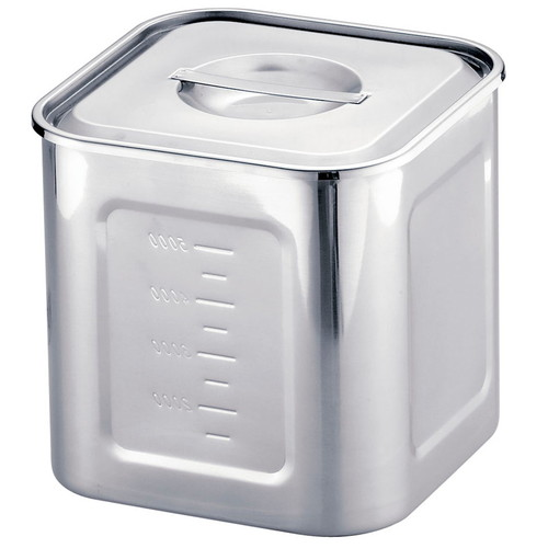 HACCP18-8深型角キッチンポット 15cm目盛付 [ 内寸:148 x 深さ:146mm 容量:3.1L ] [ 保存容器 ] | 飲食店 ホテル レストラン 厨房 社食 業務用
