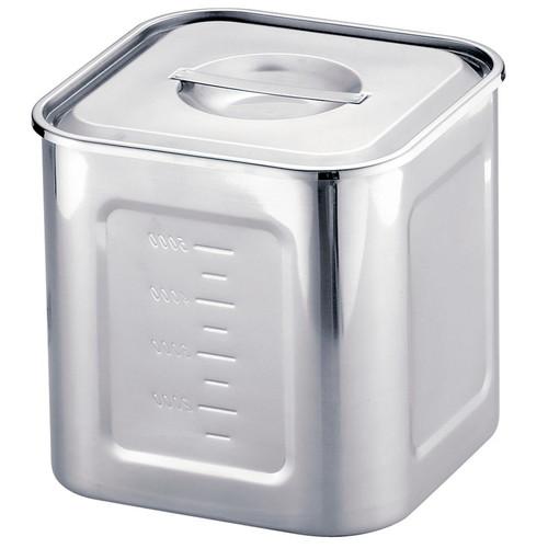 HACCP18-8深型角キッチンポット 21cm目盛付 [ 内寸:209 x 深さ:206mm 容量:8.6L ] [ 保存容器 ] | 飲食店 ホテル レストラン 厨房 社食 業務用