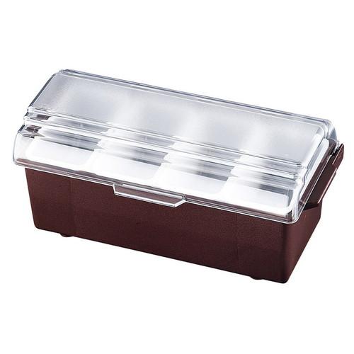 コンジメントディスペンサー レギュラー 4741 4ヶ入 ブラウン [ 幅:350 x 奥行:165 x H155mm ] [ 保存容器 ] | 飲食店 ホテル レストラン 厨房 社食 業務用