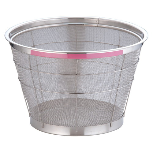 TKG NEWマンモス カラー 深型ざる 37.5cm ピンク [ 外径:401 x 深さ:230mm 容量:1斗 ] [ 料理道具 ]   飲食店 ホテル レストラン 和食 洋食 中華 キッチン 業務用